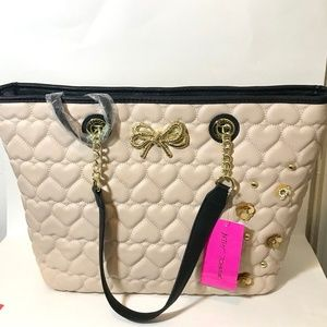Large Betsey Johnson Handbag w/ Clutch